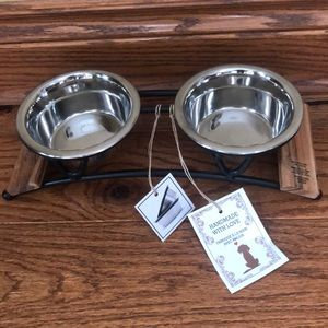 Stylish metal elevated feeder for pets.